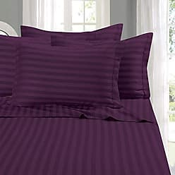 Elegant Comfort 1500 Thread Count -Damask Stripes- Egyptian Quality Luxurious Silky Soft Wrinkle & Fade Resistant 4 pc Sheet Set, Deep Pocket Up to 16 - Queen Purple