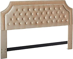 Iconic Home FHB9014-AN Chava Headboard Velvet Upholstered Button Tufted Double Row Silver Nailhead Trim Modern Transitional, King, Taupe