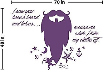 The Decal Guru Beard Funny Quote Wall Decal (Violet, 48 (H) X 70 (W))
