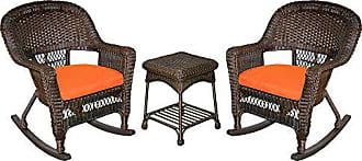 Jeco W00201R-A_2-RCES016 3 Piece Rocker Wicker Chair Set with with Orange Cushion, Espresso