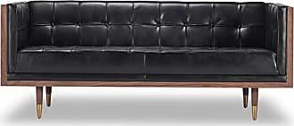 Kardiel Woodrow Midcentury Modern Box Loveseat, Black Aniline Leather/Walnut