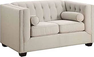 Coaster Home Furnishings Cairns Upholstered Loveseat with Tufting Oatmeal
