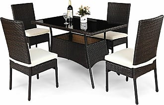 Overstock Costway 5 Piece Outdoor Patio Furniture Rattan Dining Table Cushioned Chairs Set
