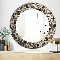 Traditional 30 Inch Round Wooden Mosaic Wall Mirror By Studio 350 Multi