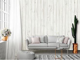 Ideal Decor White Wooden Wall Mural - DM169