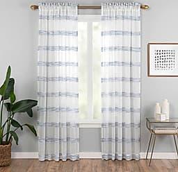Ellery Homestyles Vue Kyoto Semi-Sheer Window Curtain Panel, 52 x 95, Indigo