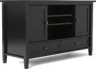 Simpli Home Warm Shaker Solid Wood TV Media Stand in Black
