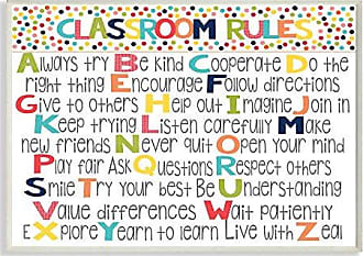 Stupell Industries The Kids Room by Stupell Classroom Rules Colorful Alphabet Wall Plaque Art