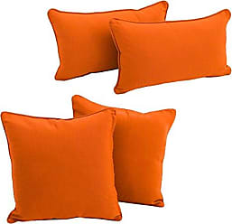 Blazing Needles 9819-S4-CD-TW-TD Double-Corded Solid Twill Throw Pillows with Inserts (Set of 4), Tangerine Dream