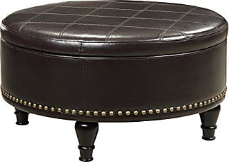 Office Star INSPIRED by Bassett Augusta Eco Leather Round Storage Ottoman with Brass Color Nail Head Trim and Deep Espresso Legs, Espresso