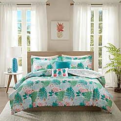 INTELLIGENT DESIGN Tropicana Comforter Set Twin/Twin XL Size - Aqua, Tropical Floral Pineapple Print - 4 Piece Bed Sets - Ultra Soft Microfiber Teen Bedding for Girls Bedroom