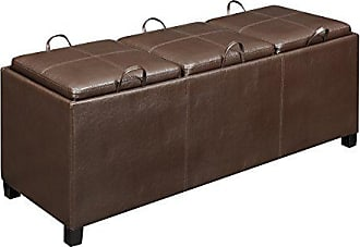 Convenience Concepts Designs4Comfort Tribeca Ottoman with 3 Tray Tops, Espresso Faux Leather