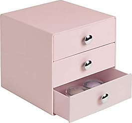 InterDesign Plastic 3-Drawer Jewelry Box, Compact Storage Organization Drawers Set for Cosmetics, Dental Supplies, Hair Care, Bathroom, Office, Dorm, Desk, Countertop, 6.5 x 6.5 x 6.5, Pink
