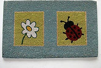 Geo Crafts Vinyl Back Lady Bug and Flower Doormat
