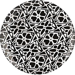 Zak designs 6766-1572 Batik Melamine Plates, 11.0 inch, Black Lattice