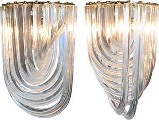 VENINI Pair Of Murano Glass curve Chandeliers By Venini