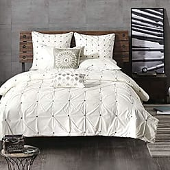Ink + Ivy Ink+Ivy Masie King/Cal King Size Bed Comforter Set - White, Elastic Embroidery Tufted Ruffles - 3 Pieces Bedding Sets - 100% Cotton Percale Bedroom Comforters