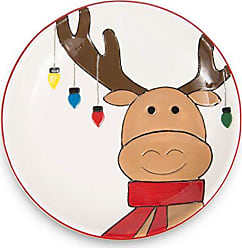 Pavilion Gift Company 81565 Pavilion 12 Inch Red & White Dolomite Ceramic Serving Christmas Moose Plate 12 Multicolored