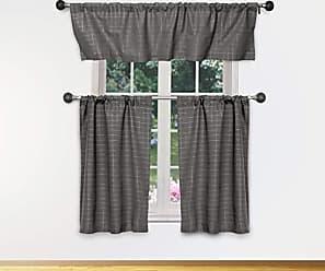 Small Window Curtain for Cafe White Laundry Loreta Semi Sheer Faux Linen Striped Kitchen Tier /& Valance Set Bath Bedroom - Home Maison