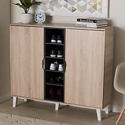 Baxton Studio Adelina Wood Shoe Cabinet - SESC16104-HANA OAK/DARK GREY-SHOE