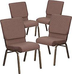 Flash Furniture 4 Pk. HERCULES Series 18.5W Stacking Church Chair in Brown Dot Fabric - Gold Vein Frame