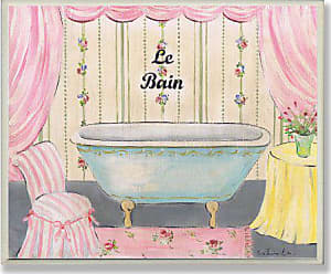 The Stupell Home Décor Collection Pink Chair and Drapes Le Bain Plaque Bathroom Wall Plaque