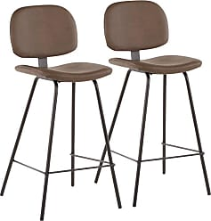 LumiSource Nunzio 26 in. Upholstered Counter Stool - Set of 2 Black / Brown - B26-NUNZIO BBN2
