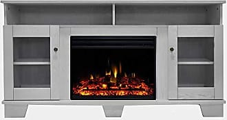 Cambridge Silversmiths Savona Heater with 59-in. White TV Stand, Enhanced Log Display, Multi-Color Flames, and Remote, CAM6022-1WHTLG3 Electric Fireplace
