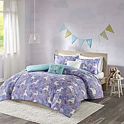 Urban Habitat Lola Twin/Twin XL Duvet Cover Set Girls Bedding - Purple, Aqua, Unicorns - 4 Piece Kids Girls Duvet Set - 100% Cotton Bed Duvet Covers