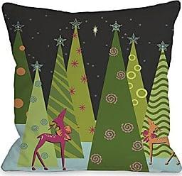 One Bella Casa Christmas Tree Parade Throw Pillow w/Zipper by Kate Ward Thacker, 18x 18