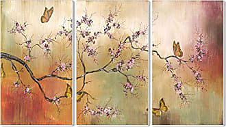 The Stupell Home Décor Collection Stupell Home Décor Pink Blossoms And Butterflies 3-Piece Triptych Wall Plaque Set, 11 x 0.5 x 17, Proudly Made in USA