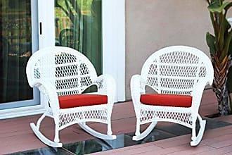 Jeco W00209-R_2-FS018-CS Wicker Rocker Chair with Red Cushion, Set of 2, White