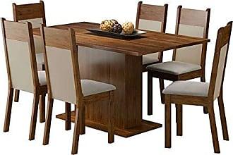 Madesa Conjunto de Mesa com 6 Cadeiras Louisiana Rustic e Crema Suede Pérola