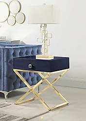 Iconic Home Ithaca Nightstand Side Table with Self Closing Drawer Lacquer X Base Brass Finished Stainless Steel, Modern Contemporary, Navy