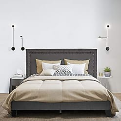 Furinno FB17023K-ST Laval Double Row Nail Head Upholestery Bed Frame King Stone