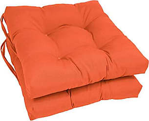 Blazing Needles Solid Twill Square Tufted Chair Cushions (Set of 2), 16, Tangerine Dream