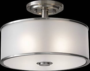 Feiss SF251BS Casual Luxury Semi Flush in Brushed Steel finish with Silver Organza Fabric