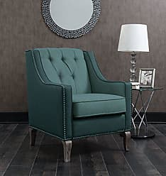Iconic Home FAC2706-AN Mixed Material Linen Leatherette Nailhead Ethan Accent Chair, Blue