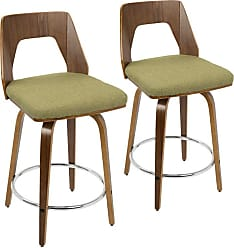 LumiSource Trilogy 24 in. Keyhole Fabric Counter Stool - Set of 2 Green - B24-TRILOR WLGN2