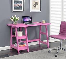 Convenience Concepts 090107PK Trestle Desk, Pink