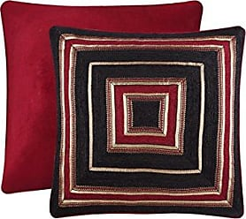 Five Queens Court Remington Woven Chenille Stripe Luxury Quality Euro Sham, Red/Gold