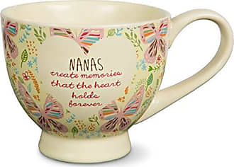 Pavilion Gift Company 54005A Mothers Love-Nanas Treat Memories That the Heart Holds Forever Floral Butterfly Soup Bowl Mug, Purple, 17 oz
