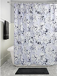 bleu azur InterDesign rideau de douche tissu imperm/éable 183,0 cm x 183,0 cm rideau douche en polyester rideau textile lavable ourlet renforc/é