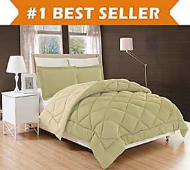 Elegant Comfort All Season Comforter and Year Round Medium Weight Super Soft Down Alternative Reversible 3-Piece Comforter Set, Full/Queen, Sage/Cream
