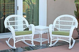 Jeco W00209_2-RCES029 3 Piece Santa Maria Rocker Wicker Chair Set with Green Cushions, White