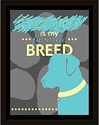 EAZL Rescued Breed Silhouette Vector Inspirational Pet Typography Illustration Grey & Blue, Framed Canvas Art by Pied Piper Creative