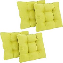 Blazing Needles Microsuede Square Tufted Dining Chair Cushions (Set of 4), 19, Mojito Lime