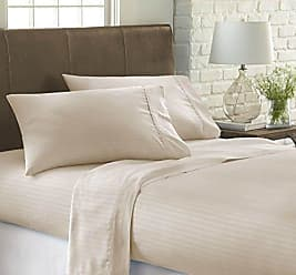 iEnjoy Home Dobby 4 Piece Home Collection Premium Embossed Stripe Design Bed Sheet Set, King, Cream