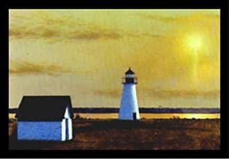 Buyartforless Framed Sea The Light by Robert Duff 28x19 Art Print Poster Coastal Ocean White Lighthouse Sunrise Beautiful Landscape
