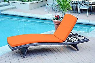 Jeco WL-1_CL1-FS016 Wicker Adjustable Chaise with Orange Cushion Espresso